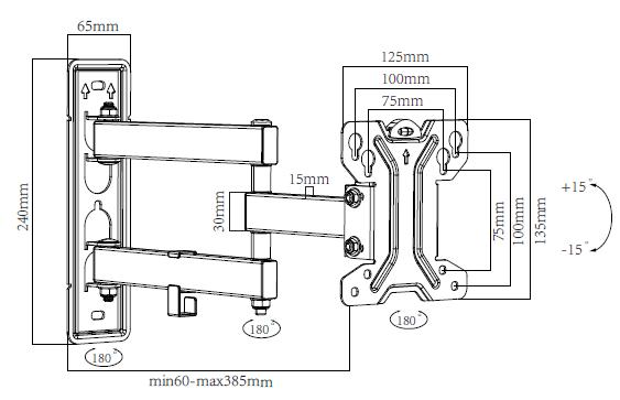 Výsledek obrázku pro Kloubový výsuvný držák na monitory a Tv STRICT BRAND SB1902